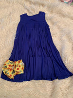 Royal Blue Fringed back tunic Dress