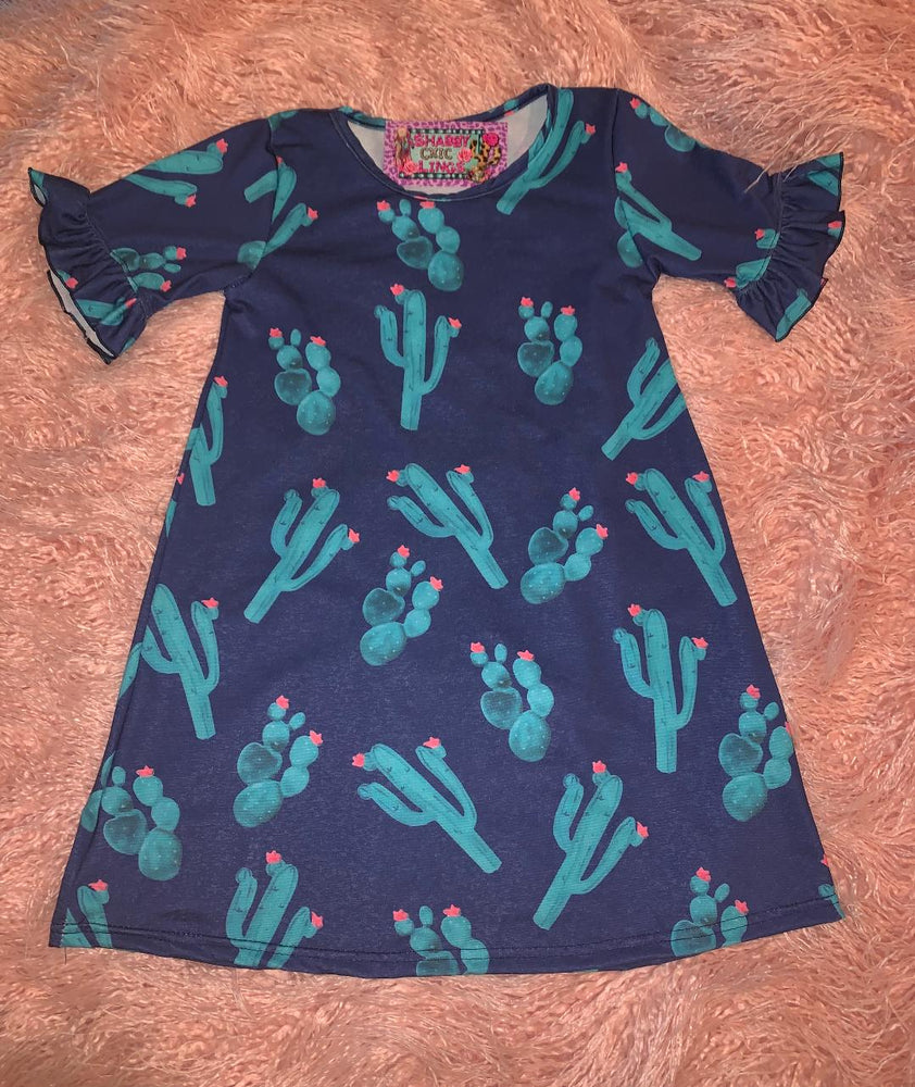 Navy Cactus Print Dress