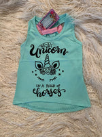 Mint be a unicorn in a field of Horses Tank Top