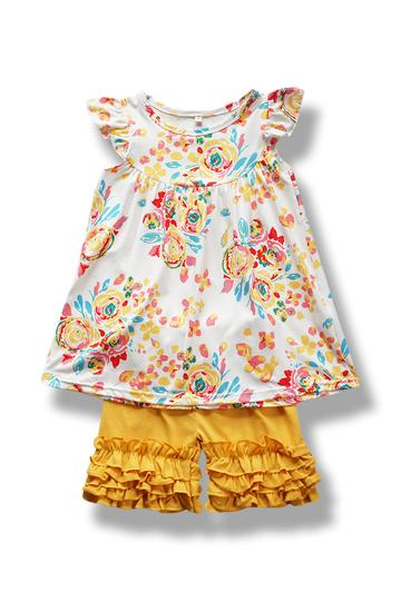 Yellow Flower Paint Ruffle Set