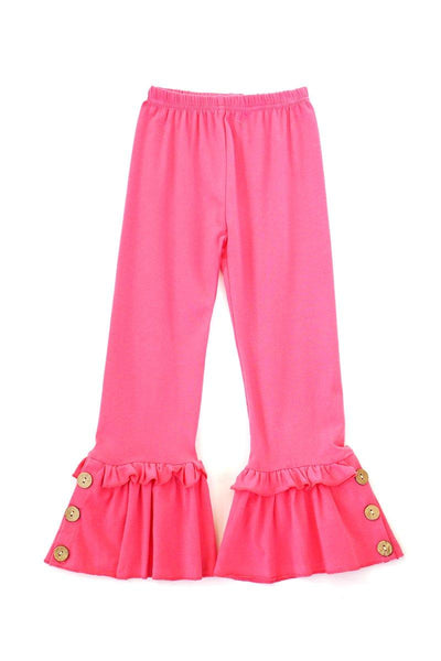 Pink Ruffle Pants with Button Accent