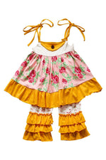 Yellow and Pink Floral Ruffle Set