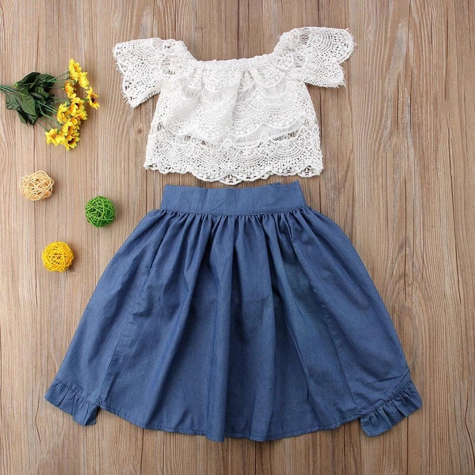 White Lace off the Shoulder Top with Blue Shorts and Dress Set