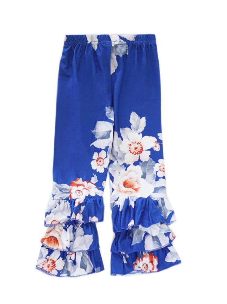 Royal Blue Floral Ruffle Pants