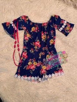 Navy Floral Romper with Necklace