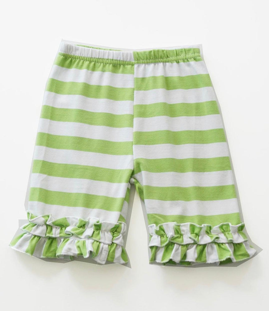Green and White Ruffle Shorts