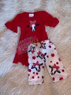 Red Heifer HiLo top Capri Set