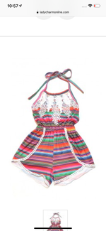 Thin Stripe Serape Baby Romper with Lace Detail