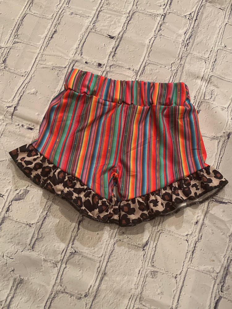 Serape Shorties with Cheetah Ruffles