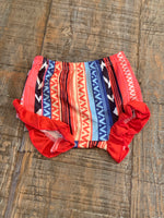 Serape Bloomers/Shorties With Red Ruffle
