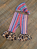 Serape and Cheetah Bells-purple, orange, pink, green and blue