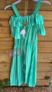 Striped Mint Girl Maxi Romper with Feather Necklace
