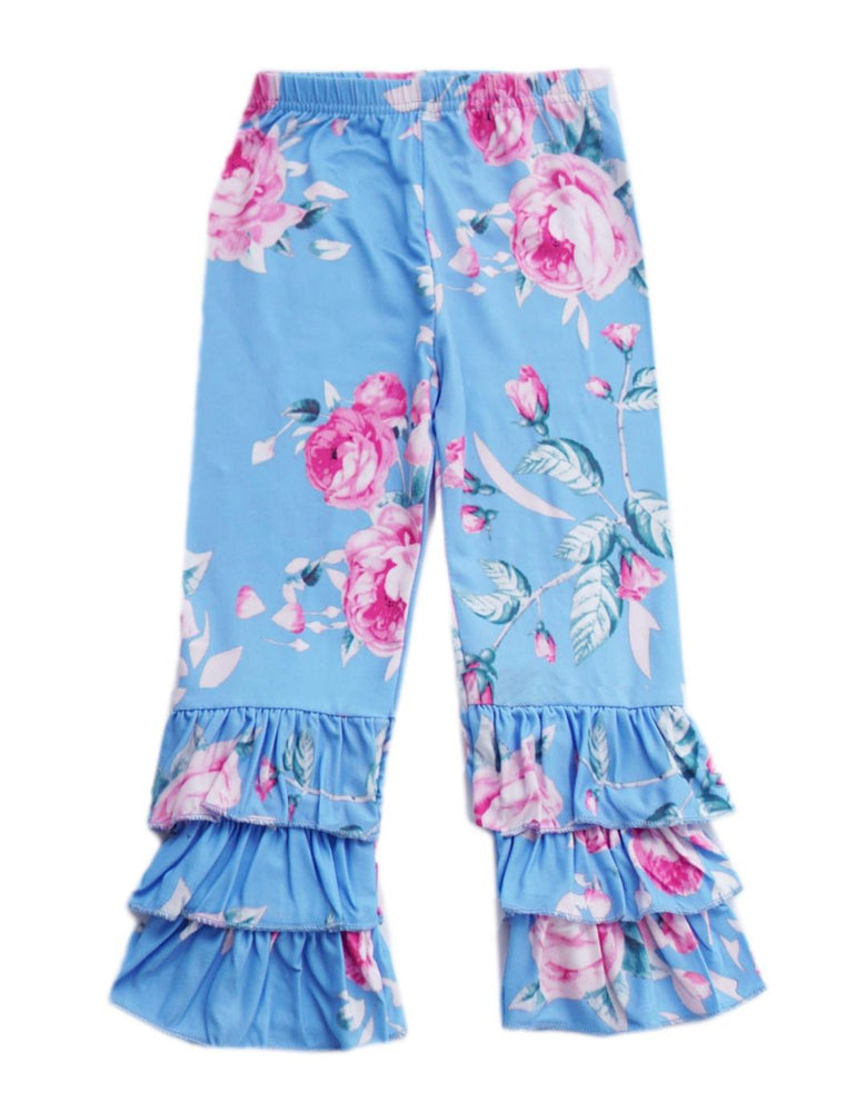 Blue Floral Ruffle Pants