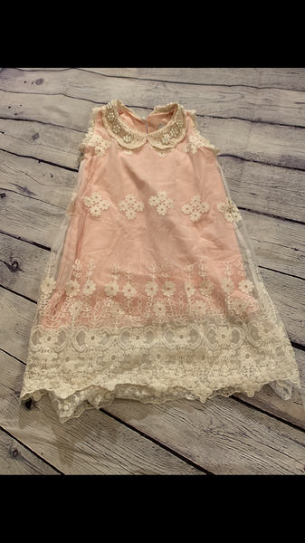 Light Pink Dress with Cream overlay of Lace and Pearl accents