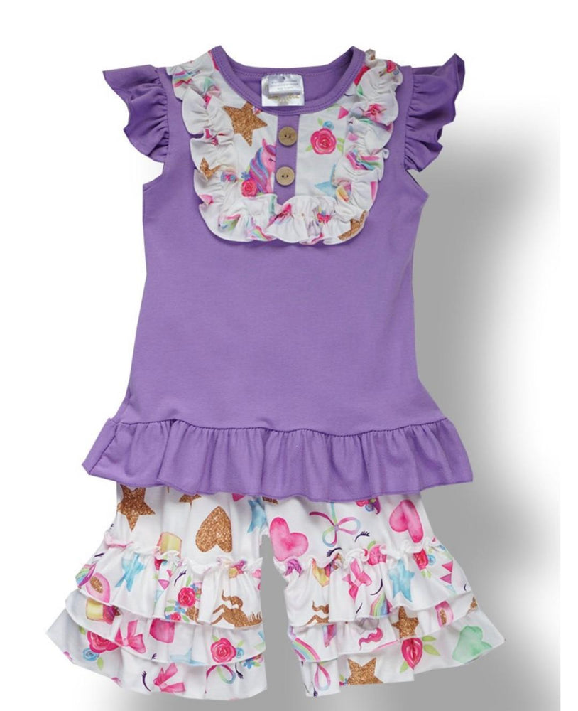 Purple Unicorn Ruffle Set