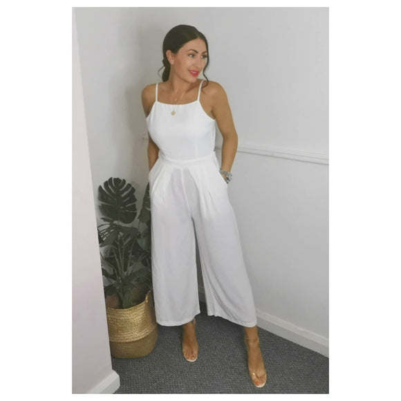 White Tie Back Jumpsuit
