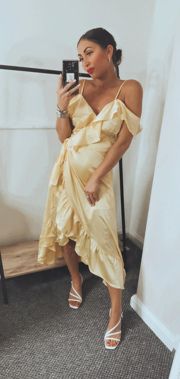 Lemon Tie Wrap Dress