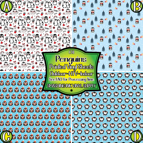 Cute Penguins - Pattern Vinyl (READY IN 3 BUS DAYS)