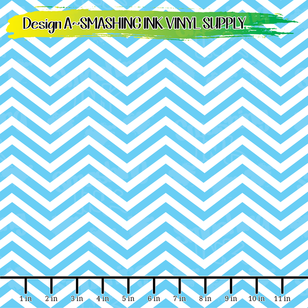 Blue Chevron - Pattern Vinyl (READY IN 3 BUS DAYS)