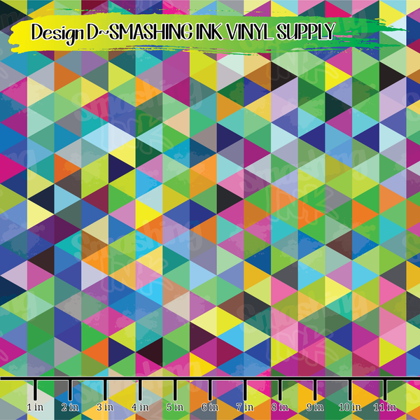 Geometric Triangles - Pattern Vinyl (SHIPS IN 3 BUS DAYS)