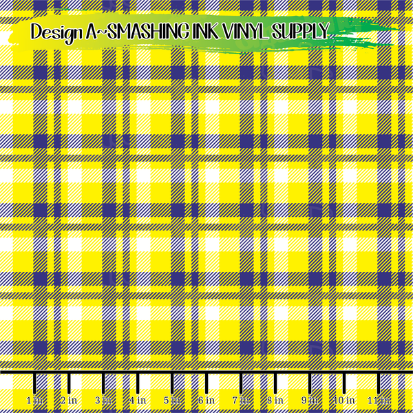 Navy Yellow Plaid - Pattern Vinyl (SHIPS IN 3 BUS DAYS)