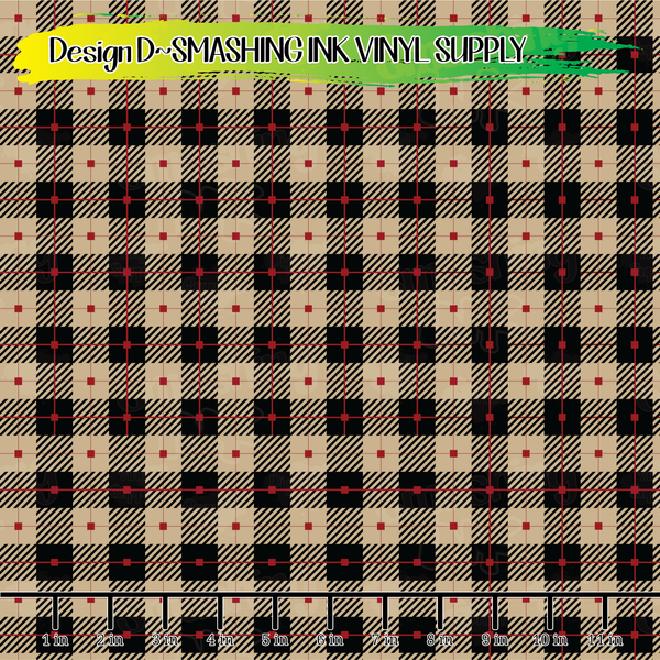Tan and Black Plaid - Pattern Vinyl (SHIPS IN 3 BUS DAYS)