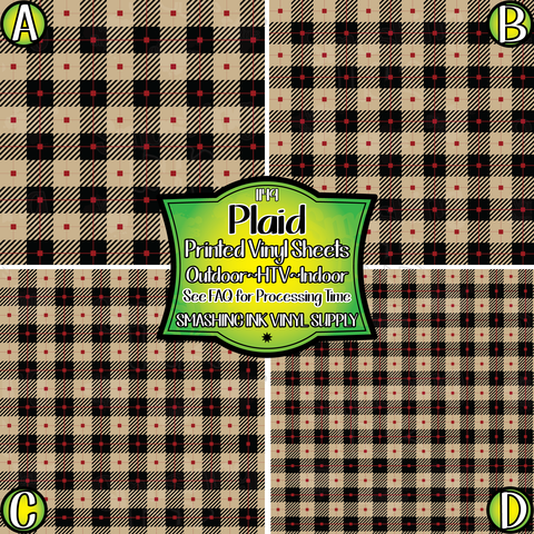 Tan and Black Plaid - Patterned Vinyl
