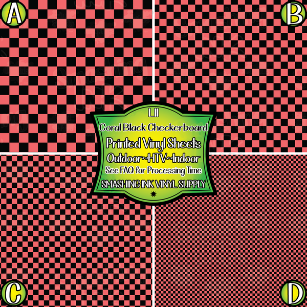CORAL BLACK CHECKERBOARD - Pattern Vinyl (READY IN 3 BUS DAYS)
