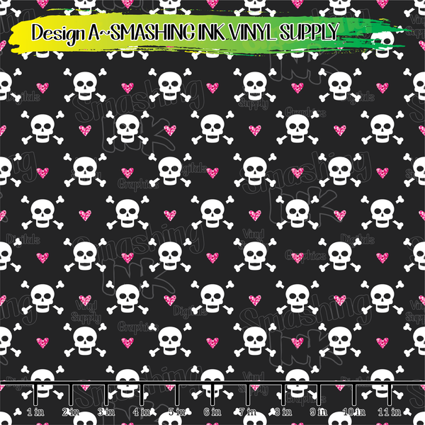 HEARTS AND SKULLS- Pattern Vinyl (READY IN 3 BUS DAYS)