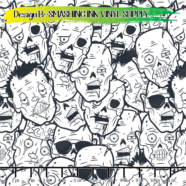 Zombie Doodles - Pattern Vinyl (READY IN 3 BUS DAYS)