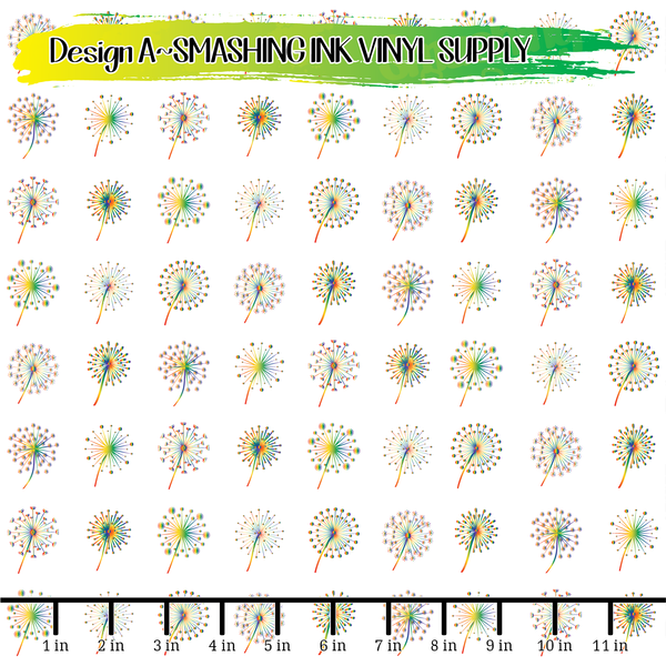 Rainbow Dandelions - Pattern Vinyl (SHIPS IN 3 BUS DAYS)