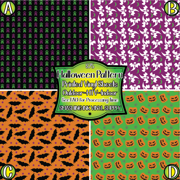 Halloween Pattern - Pattern Vinyl (READY IN 3 BUS DAYS)