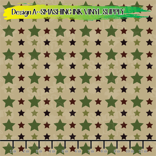 Army Stars - Pattern Vinyl (READY IN 3 BUS DAYS)