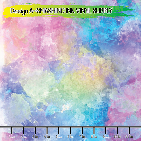 Colorful Watercolor - Pattern Vinyl (READY IN 3 BUS DAYS)