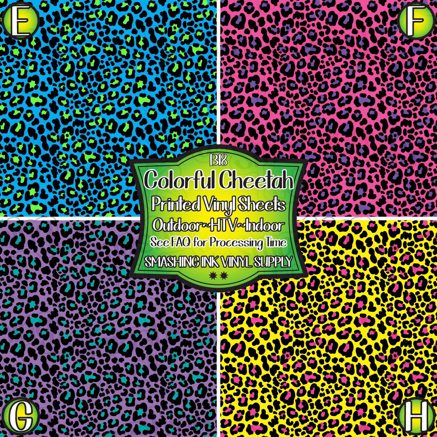 Colorful Cheetah  - Pattern Vinyl (READY IN 3 BUS DAYS)