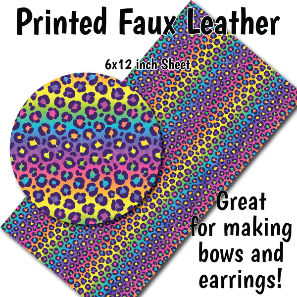 Rainbow Cheetah O - Faux Leather Sheet (SHIPS IN 3 BUS DAYS)