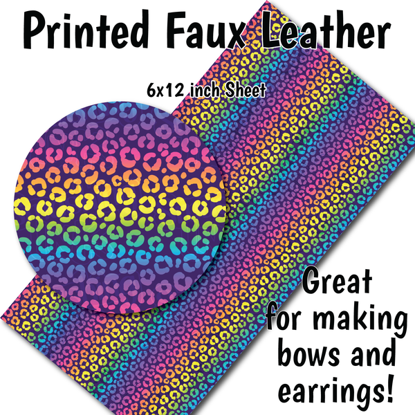 Rainbow Cheetah P - Faux Leather Sheet (SHIPS IN 3 BUS DAYS)