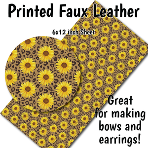 Sunflower Cheetah - Faux Leather Sheet (SHIPS IN 3 BUS DAYS)