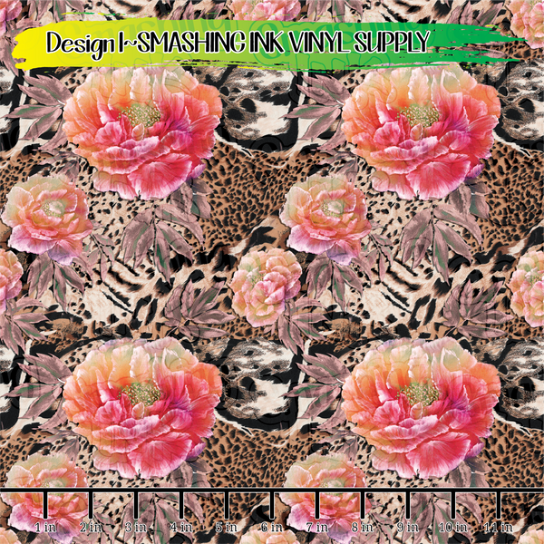 Floral Animal Print - Pattern Vinyl (SHIPS IN 3 BUS DAYS)