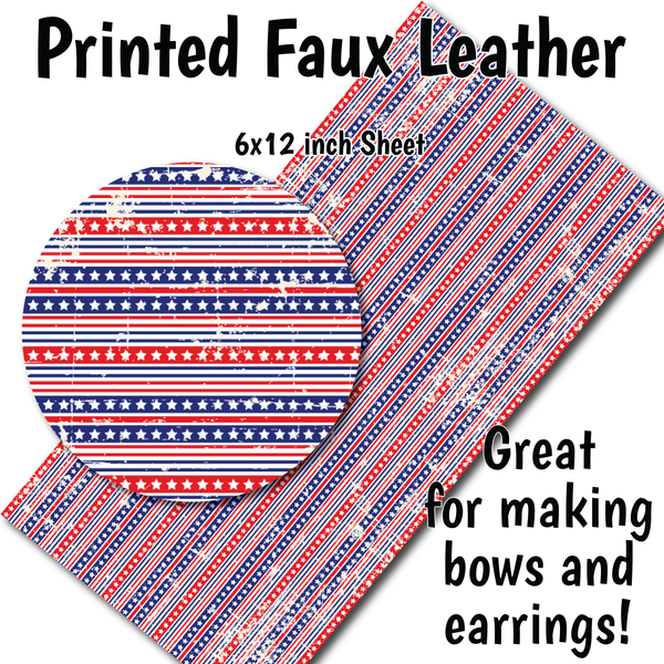 Distressed Patriotic Stripes - Faux Leather Sheet (SHIPS IN 3 BUS DAYS)