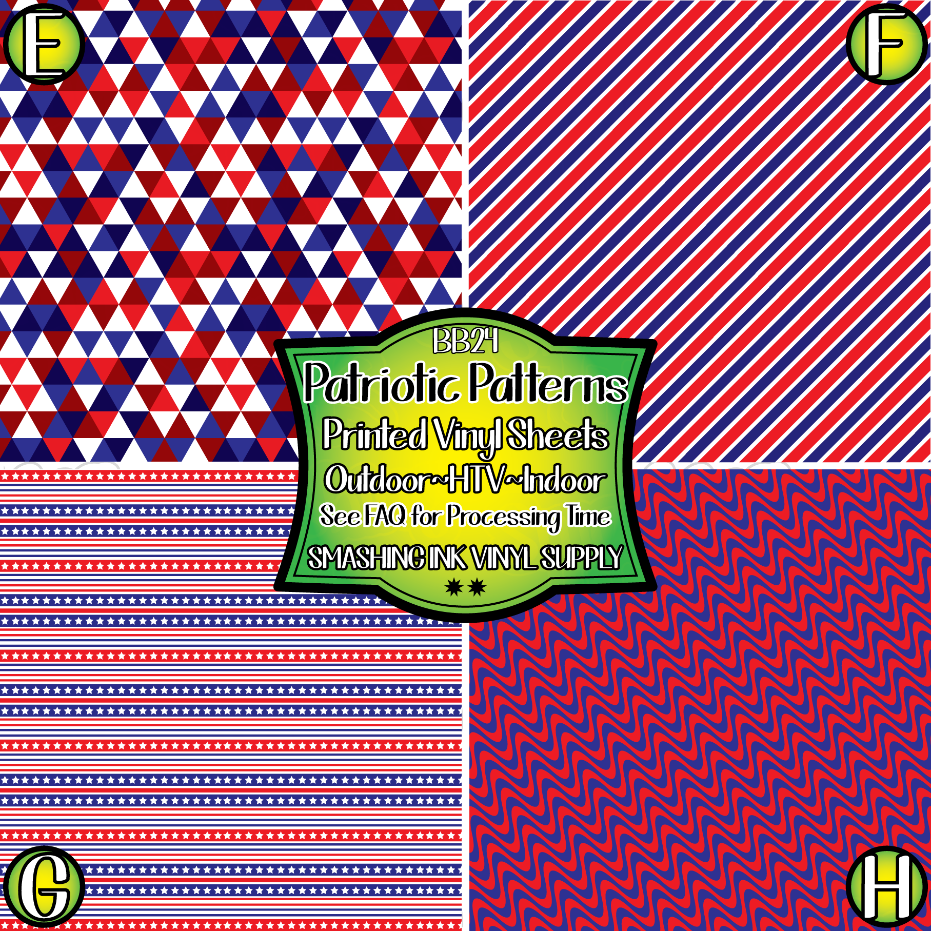 Red White Blue Geometric - Pattern Vinyl (SHIPS IN 3 BUS DAYS)