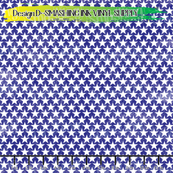 Blue White Distressed Stars - Pattern Vinyl (READY IN 3 BUS DAYS)