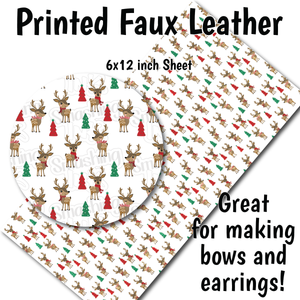 Cute Reindeer - Faux Leather Sheet (SHIPS IN 3 BUS DAYS)