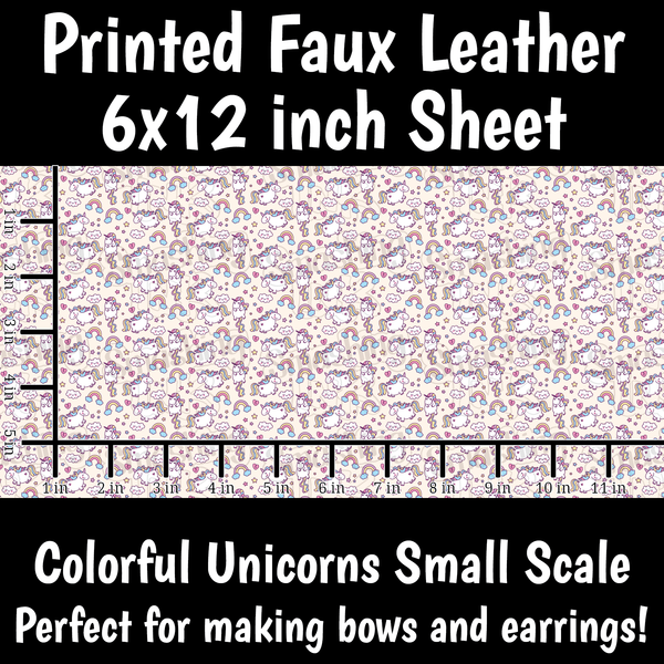 Colorful Unicorns Small Scale - Faux Leather Sheet (SHIPS IN 3 BUS DAYS)