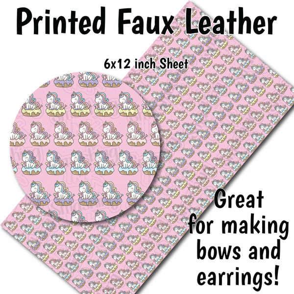 Unicorn Pattern - Faux Leather Sheet (SHIPS IN 3 BUS DAYS)