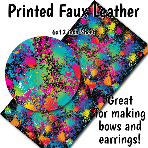 Paint Splatter - Faux Leather Sheet (SHIPS IN 3 BUS DAYS)