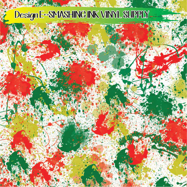Christmas Splatter - Pattern Vinyl (READY IN 3 BUS DAYS)