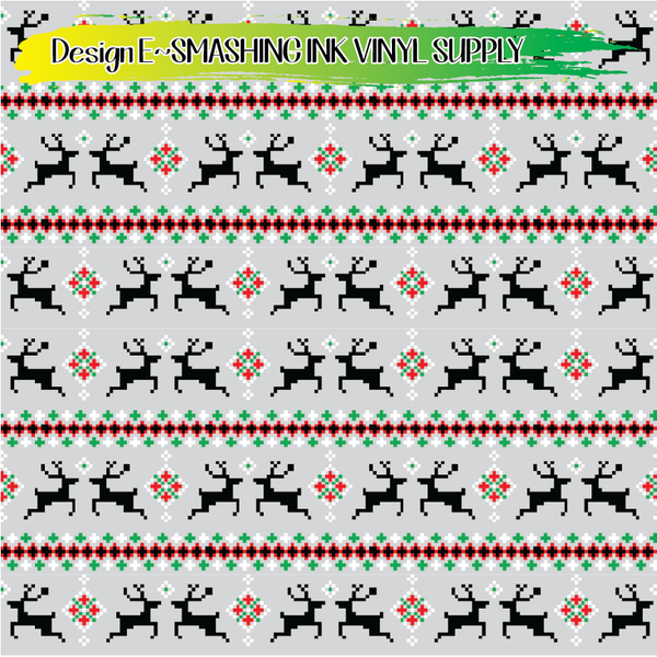 Christmas Pixel Pattern - Pattern Vinyl (READY IN 3 BUS DAYS)