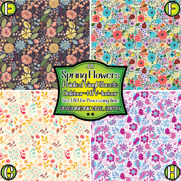 Spring Flowers- Pattern Vinyl (SHIPS IN 3 BUS DAYS)