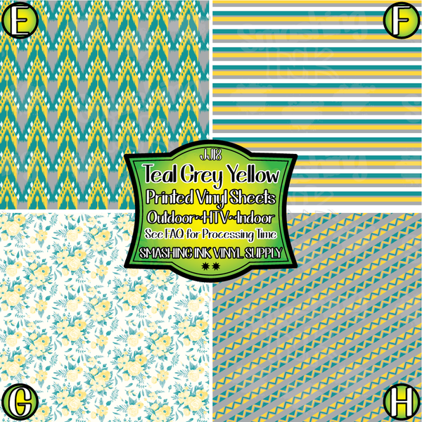 Teal Grey Yellow - Pattern Vinyl (SHIPS IN 3 BUS DAYS)